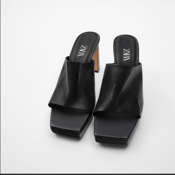 New Zara leather heel platform mules 9